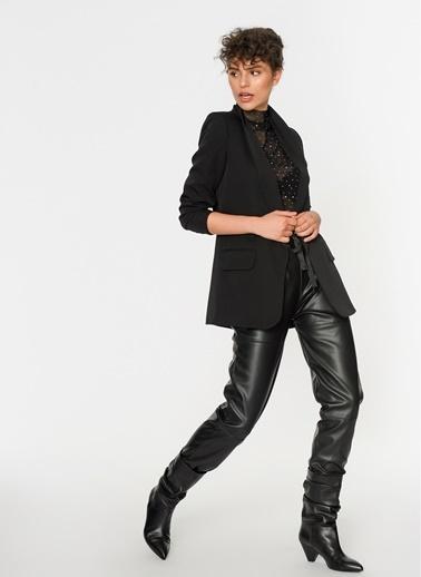 Loves You Kolu Büzgülü Blazer Ceket Siyah